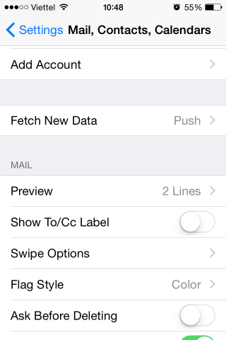 iPhone email add account
