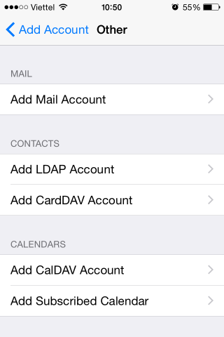 iPhone email account type other