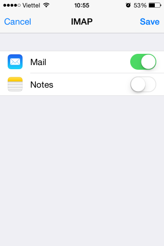 iPhone email new account - save