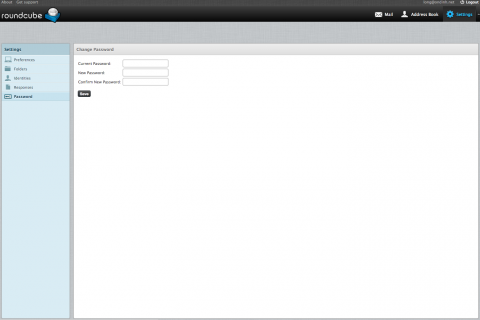 Roundcube webmail - Change password