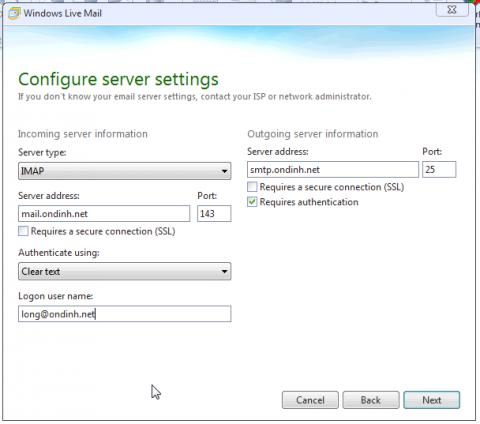 Live Mail - Configure server settings