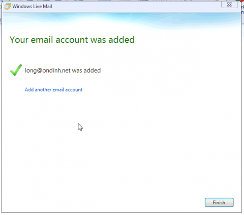 Live Mail - Your email account was added